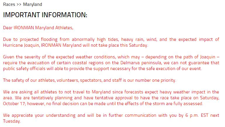 IronMan Maryland 2015 Cancelled